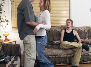 cheyene's brother watches as she kisses the older man